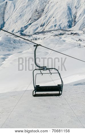 Skilift on ski resort during winter on bright day