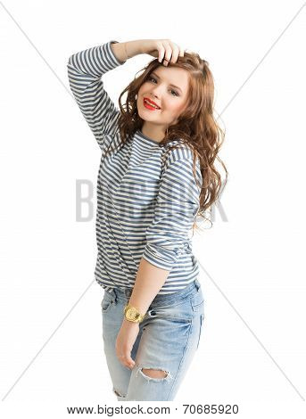 Girl in a striped vest
