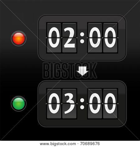 Daylight saving time digital dial clock face