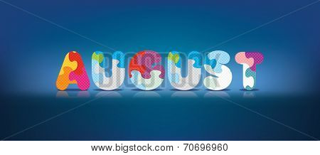 AUGUST written with alphabet puzzle - vector illustration