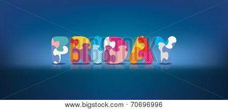 FRIDAY written with alphabet puzzle - vector illustration