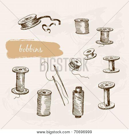 Bobbins. Set of hand drawn graphic illustrations poster
