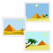 illustration of egypt pyramids in desert postage stamps poster