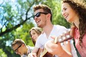 Group of happy friends with guitar having fun outdoor poster