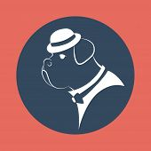 silhouette gangster dog in the mafia hat  vector illustration poster