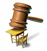 Education law and school justice with a judge mallet or judges wooden gavel hammering a student class desk as a metaphor for public safety teacher or student abuse with a legal lawyer or attorney guidance for curriculum and learning issues. poster