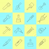 Home repair tools outline icons set with names saw roller crane shovel trowel abstract isolated vector illustration poster