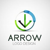arrow company logo, abstract business symbol - concept direction, modern line design poster