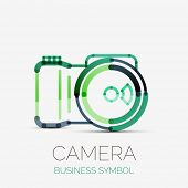 camera icon company logo design, business symbol concept, minimal line design poster