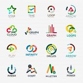Abstract company logo collection - 16 line style business corporate logotypes poster