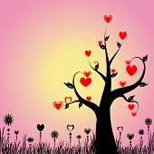 Abstract tree with hearts and floral