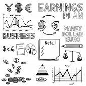 Hand draw business finance doodle sketch money icon, dollar euro sign graph, chart. poster
