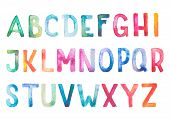 Colorful watercolor aquarelle font type handwritten hand draw doodle abc alphabet letters poster