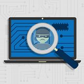 Malware detected on laptop represented by a magnifying glass focusing on the figure of a thief poster