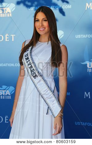 Miss Universe 2014 Gabriela Isler from Venezuela at the red carpet before US Open 2014 opening night