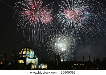 New Year fireworks over Prague, Czech Republic, on January, 1, 2013.