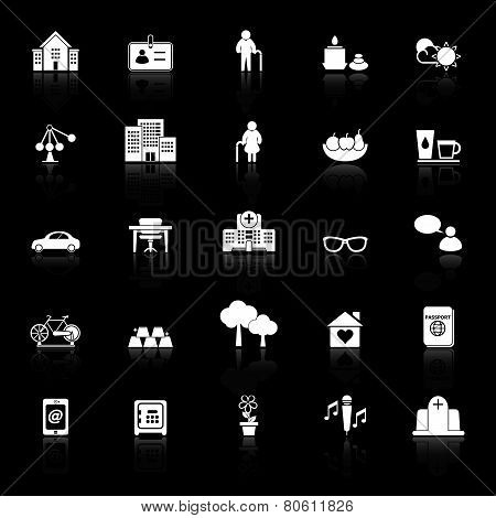 Retirement Community Icons With Reflect On Black Background