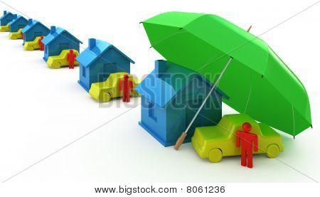 row of House auto perosn umbrella