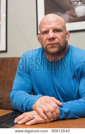 BARNAUL, RUSSIA - November 28, 2014: Jeffrey William Monson, American mixed martial artist, world champion, before the fight with Russian fighter Ilya Sheglov on November 28, 2014 in Barnaul, Russia