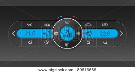 Digital Air Condition Dashboard Design With Blue Lcd