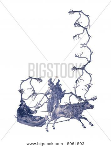 Luxuriously illustrated old capital letter J made from deer antlers and two hunters. poster
