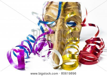 Carnival mask with colorful streamers on white background poster