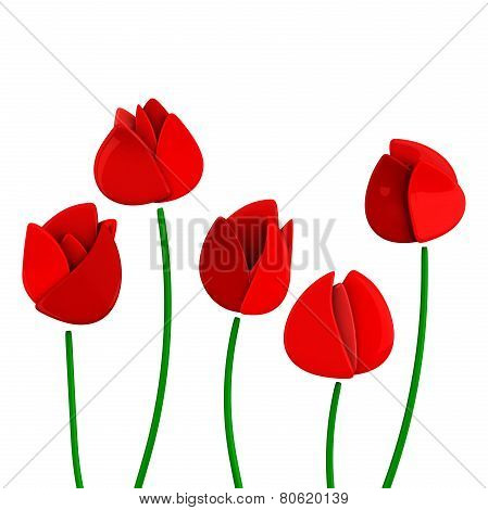 Five red tulip flowers, 3d