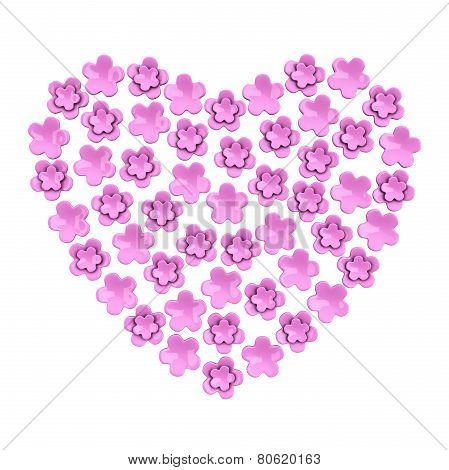 Romantic pink flower heart, 3d