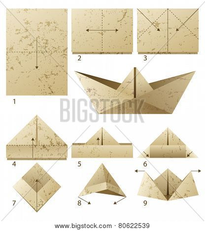 9 steps instruction how to make paper boat