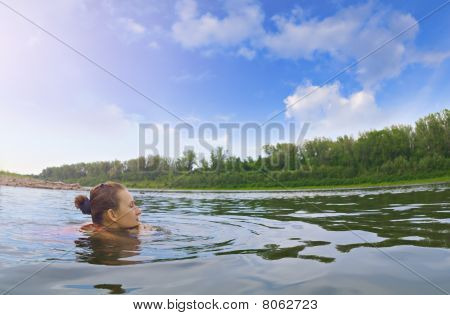 Girl Rests On Nature