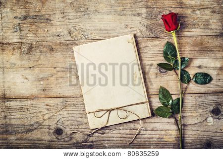 Love journal and a rose