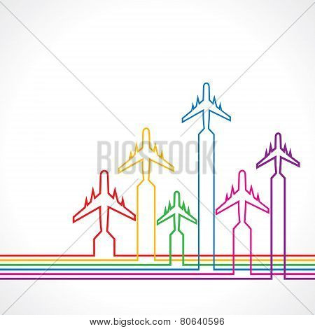 Abstract background with airplane and map stock vector