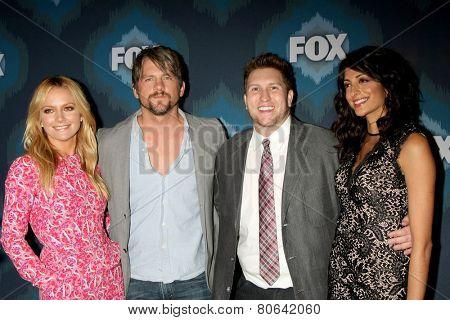 LOS ANGELES - JAN 17:  Becki Newton, Zachary Knighton, Nate Torrence, Meera Rohit Kumbhani at the FOX TCA Winter 2015 at a The Langham Huntington Hotel on January 17, 2015 in Pasadena, CA
