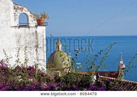 Rooftop with Dome and Bougainvillea