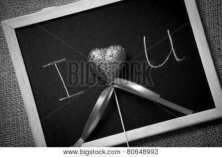 Monochrome Photo Of Declaration Of Love Written On Blackboard