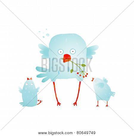 Cartoon Fun and Cute Mother Bird with her Babies