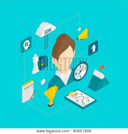 Coaching Business Isometric Icon