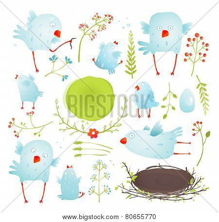 Cartoon Fun and Cute Baby Birds Collection