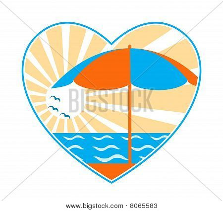 Beach Umbrella, Sea And Sun In Heart