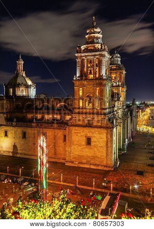 Metropolitan Cathedral and President's Palace in Zocalo Center of Mexico City at Night poster