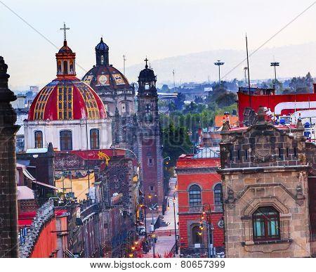 Zocalo Churches Domes Mexico City