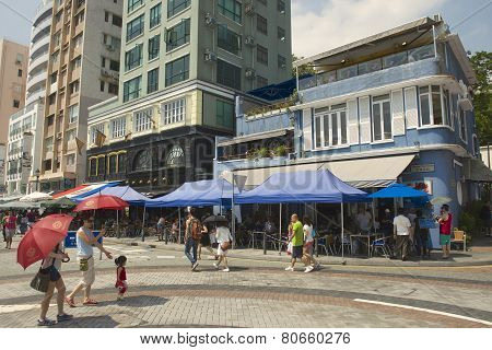 Tourists visit restaurants at lunchtime in Stanley town in Hong Kong, China.