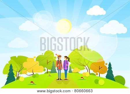 tourist couple with backpack over summer landscape mountain