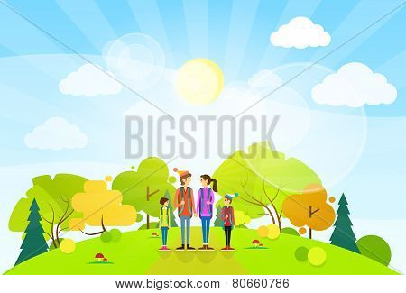 tourist family with backpack over summer landscape mountain forest road