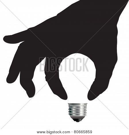 Light Bulb Idea Concept with Hand