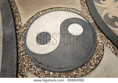 Symbol Yin and Yang representing Good and Bad Of Taoism poster