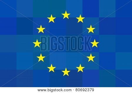 European Union Flag On Unusual Blue Squares Background. Foursquare Design. Original Proportions And