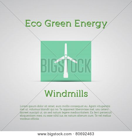 Windmills Receiving Wind Energy Poster. Vector Illustration Concepts For Ecology,  And Green Technol