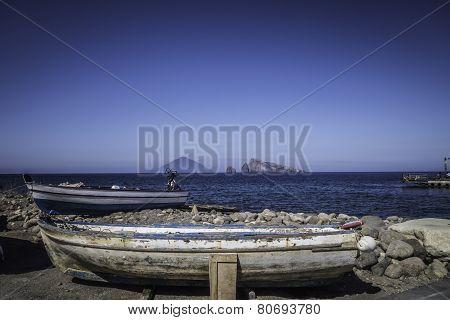 Boat Of Fisherman In The Aeolian Islands