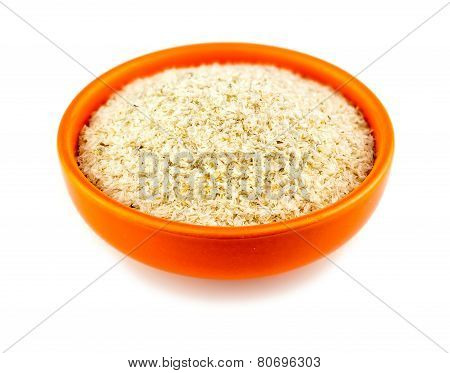 Healthy Psyllium Husks In Bowl On White